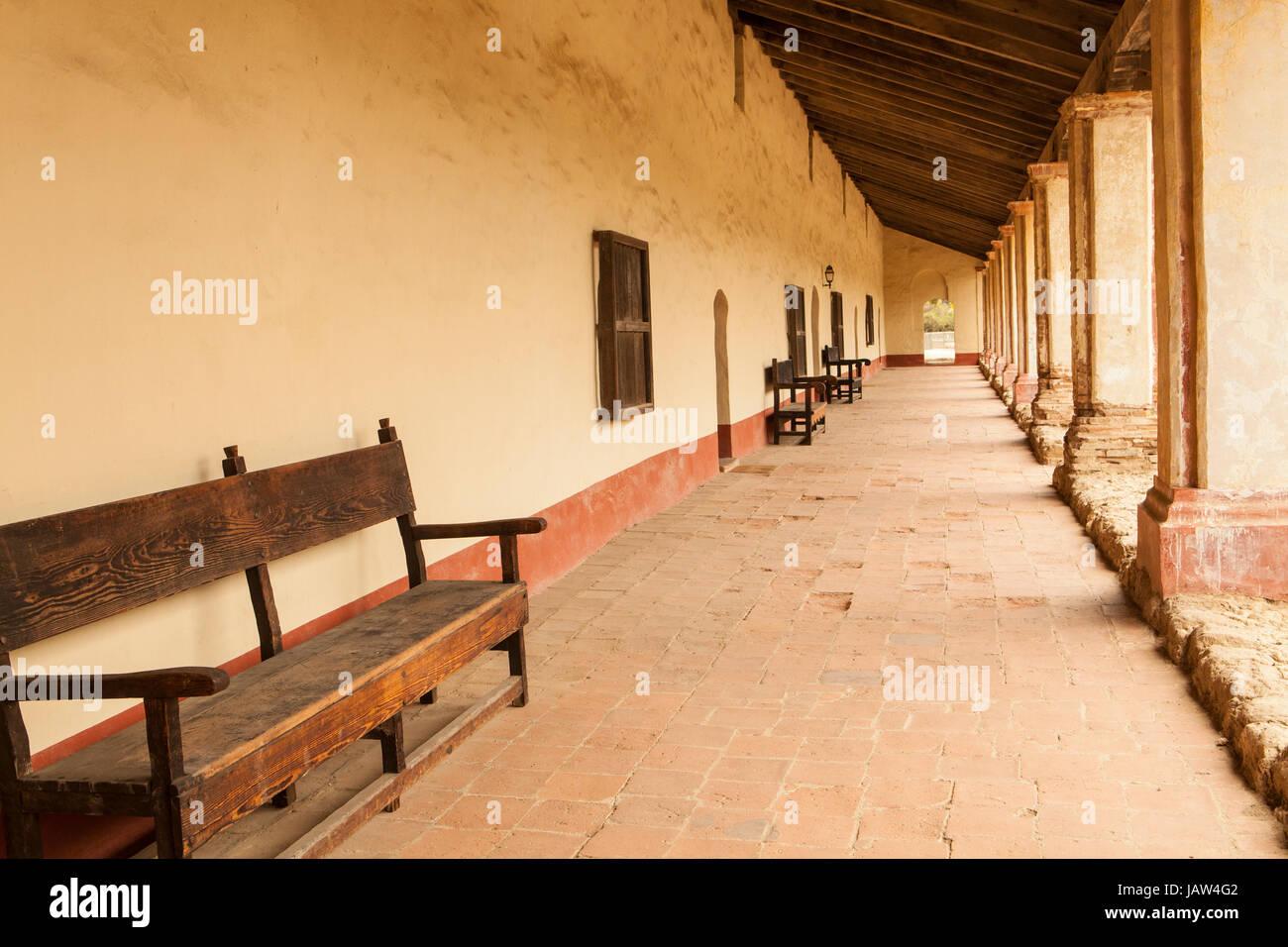 Colonnade, La Purisima Mission State Historic Park, Lompoc, California - Stock Image