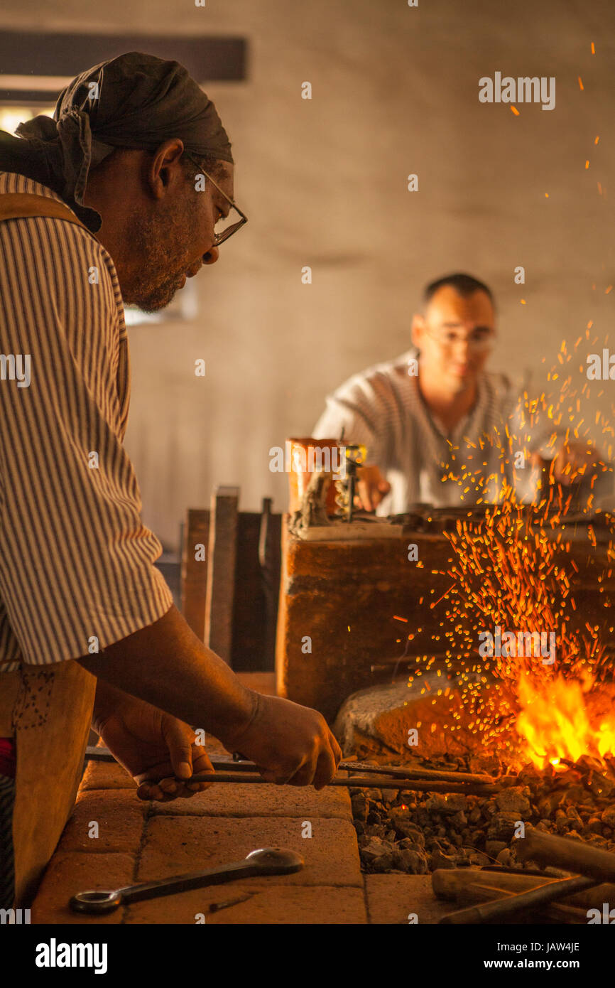 blachsmith and forge, La Purisima Mission State Historic Park, Lompoc, California - Stock Image