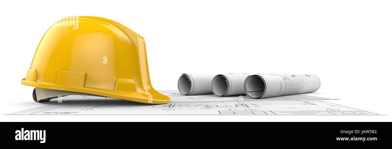 Hardhat on top of Generic Architectural blueprints, drawings and sketches. 3 Rolls.  3D render. - Stock Image