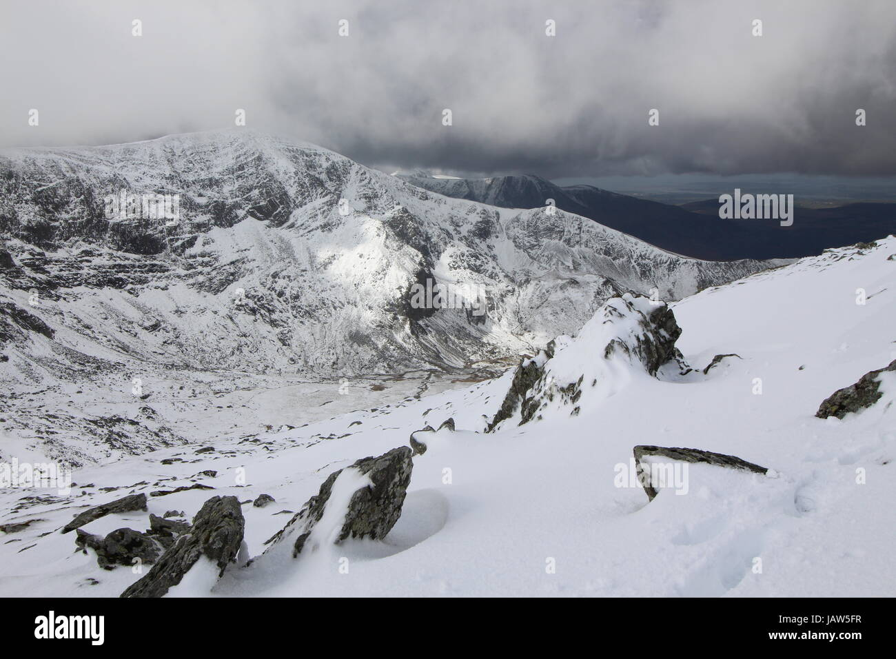Winter in the mountains of Wales, isolated and Inspired by nature. - Stock Image
