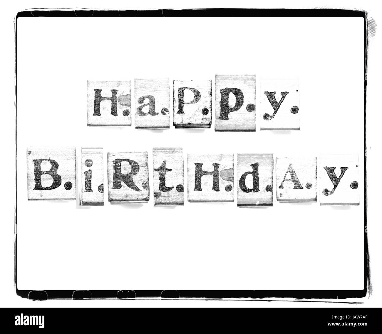 happy birthday words made from vintage wood letter press