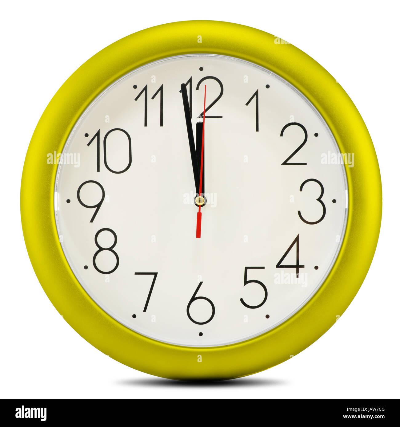 Wall clock isolated on white background. Twelve o'clock - Stock Image