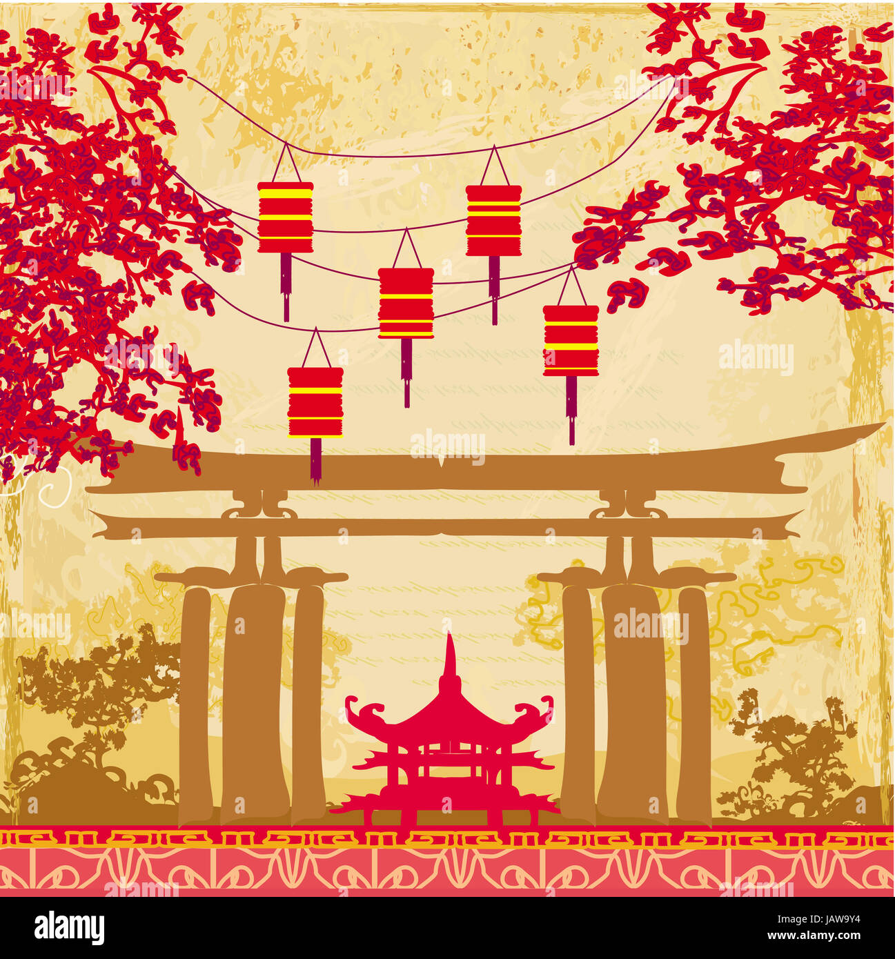 chinese new year card traditional lanterns and asian buildings stock image