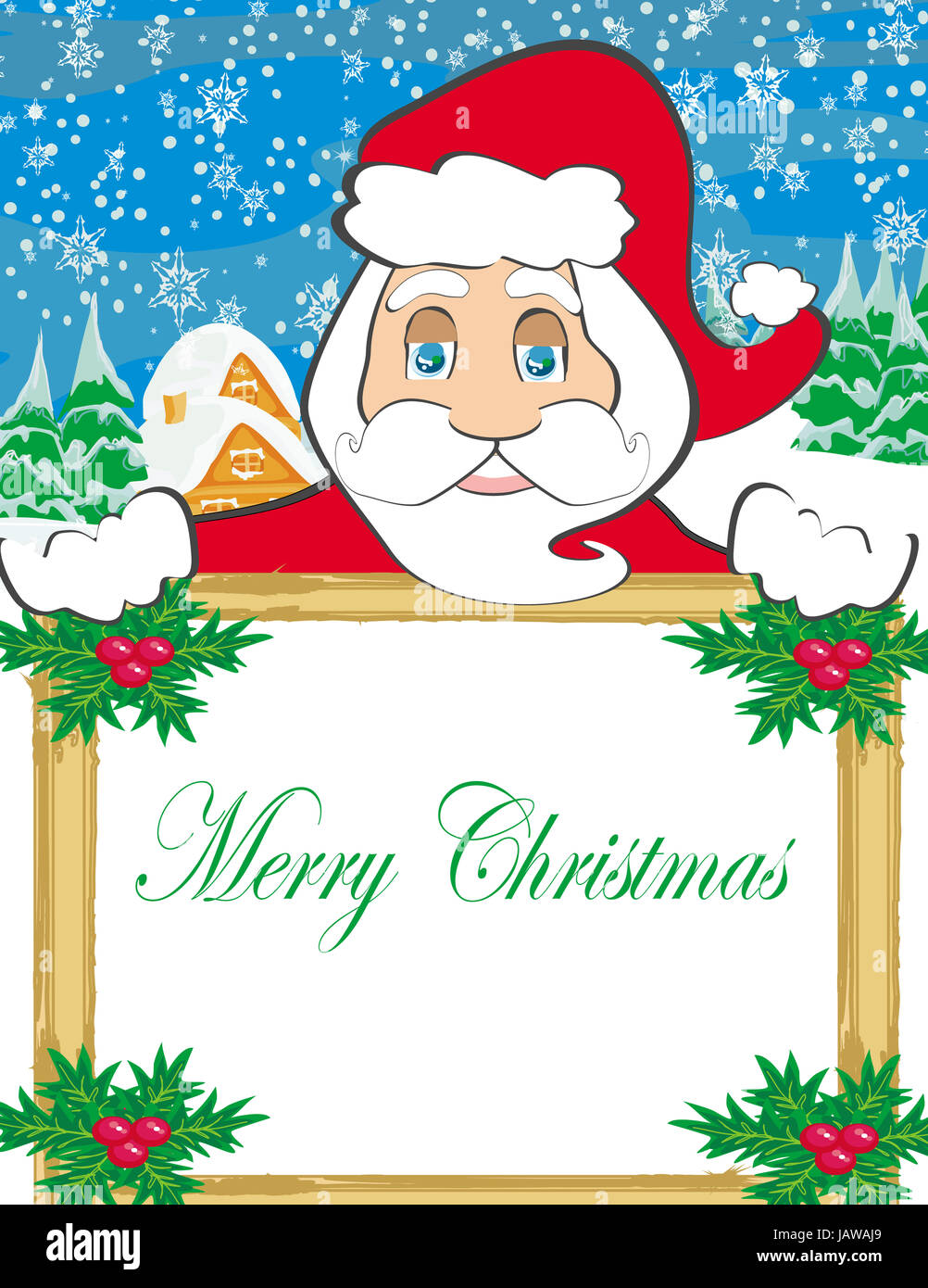 funny Santa Claus holding a frame, place for text Stock Photo ...