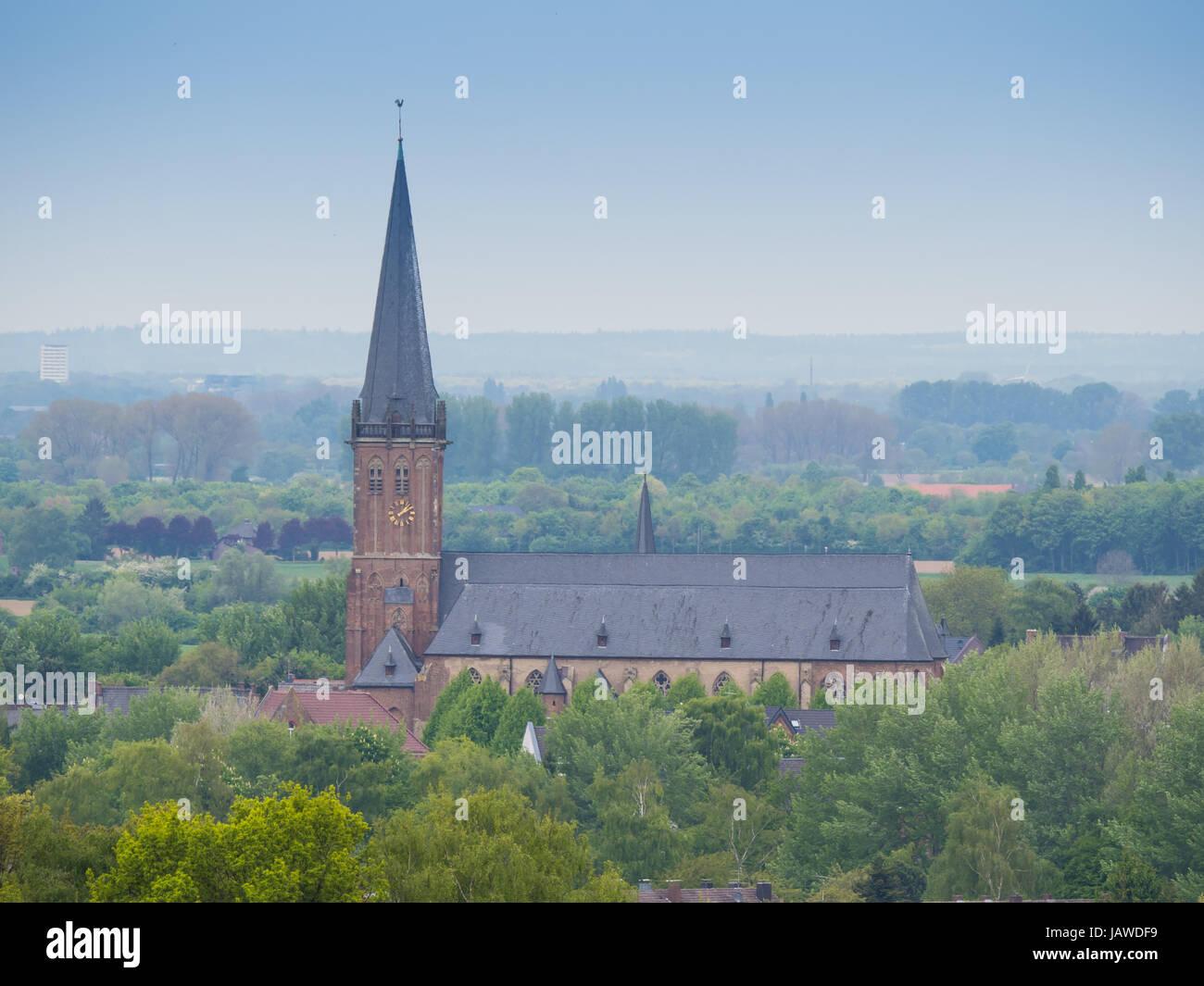 st. nicolai church, kalkar, germany view from the monreberg - Stock Image