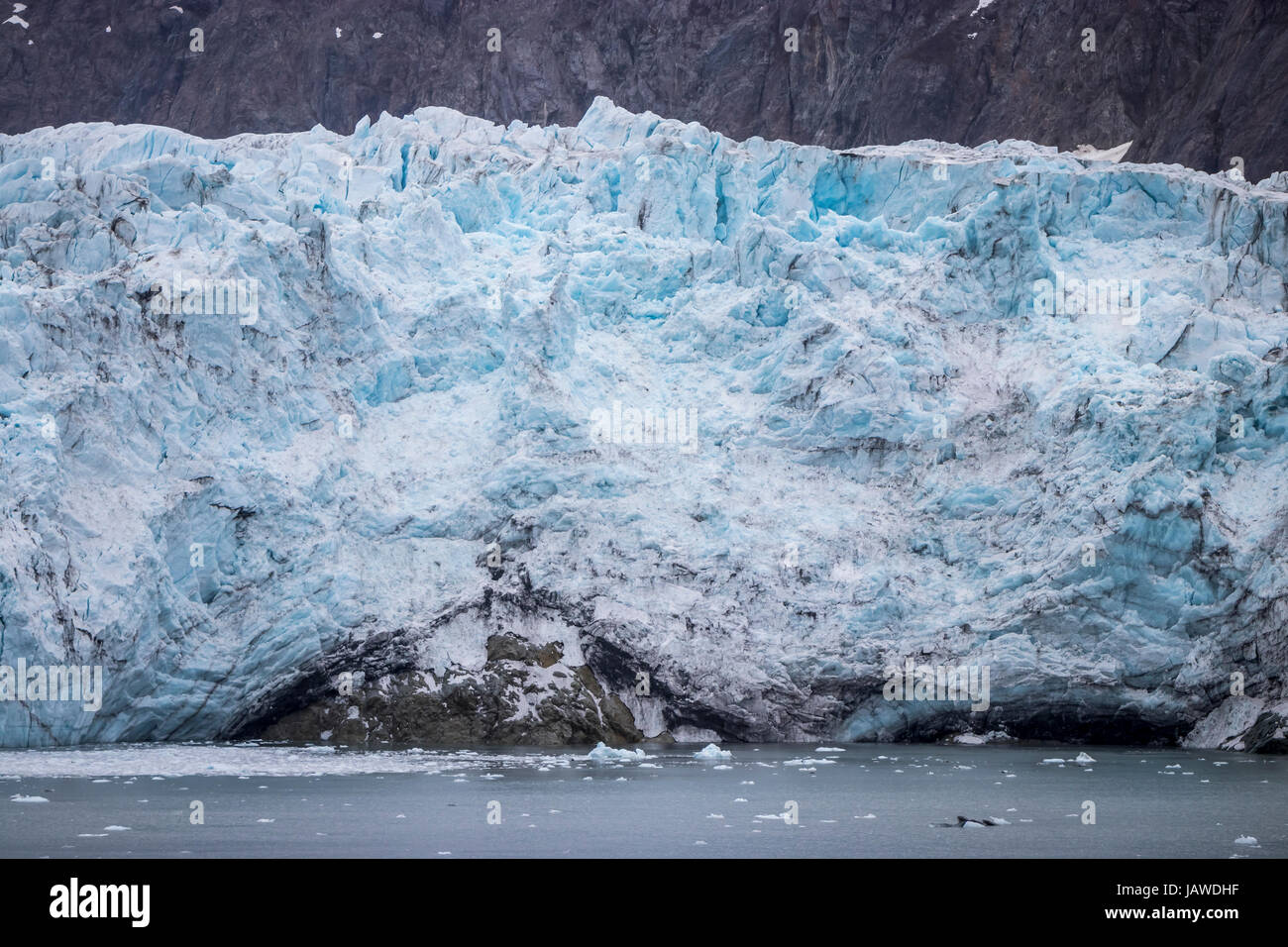 A close up of the toe of the Margerie Glacier in Glacier Bay, Alaska, USA. - Stock Image