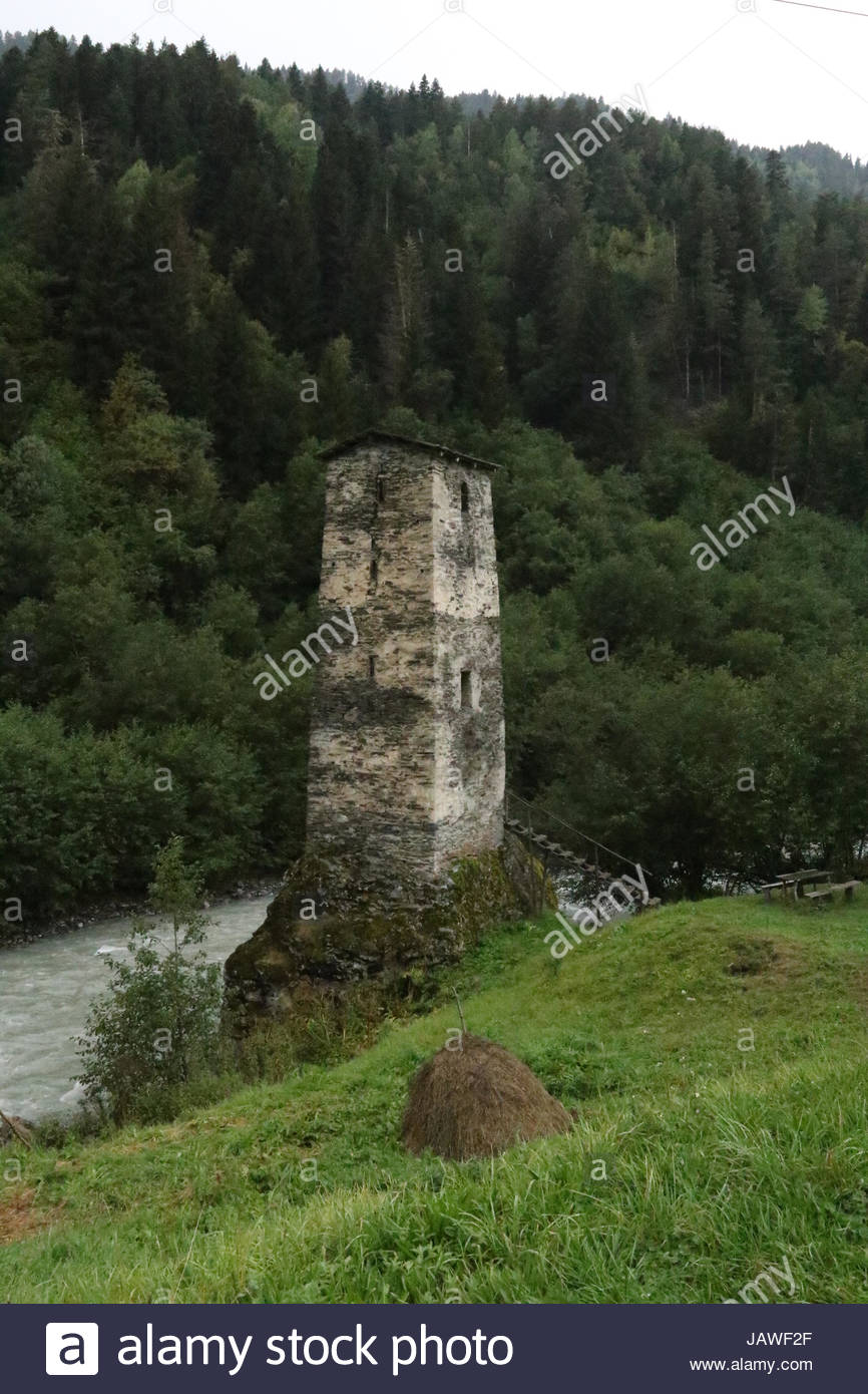 Old defensive stone tower from the Middle Ages. - Stock Image