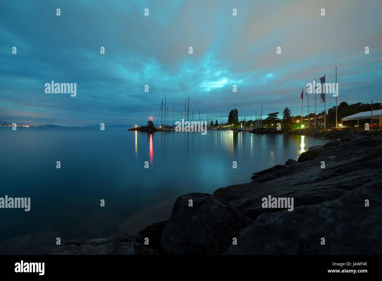 Nightfall at Pully in Switzerland by Lake Leman (Lake Geneva) - Stock Image