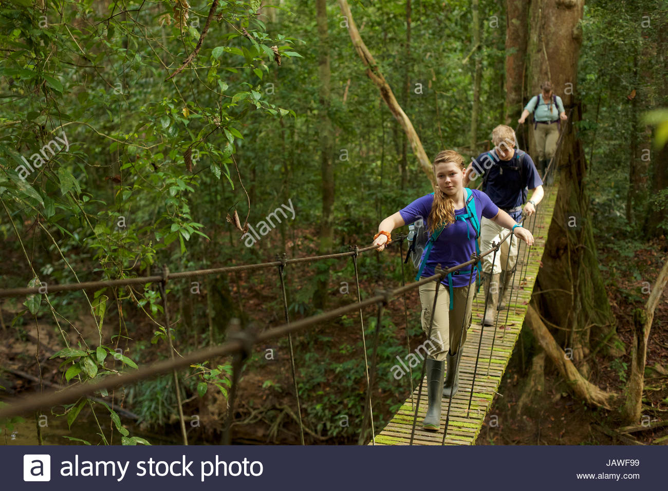 A boy and girl cross a suspension bridge in Gunung Palung National Park. - Stock Image