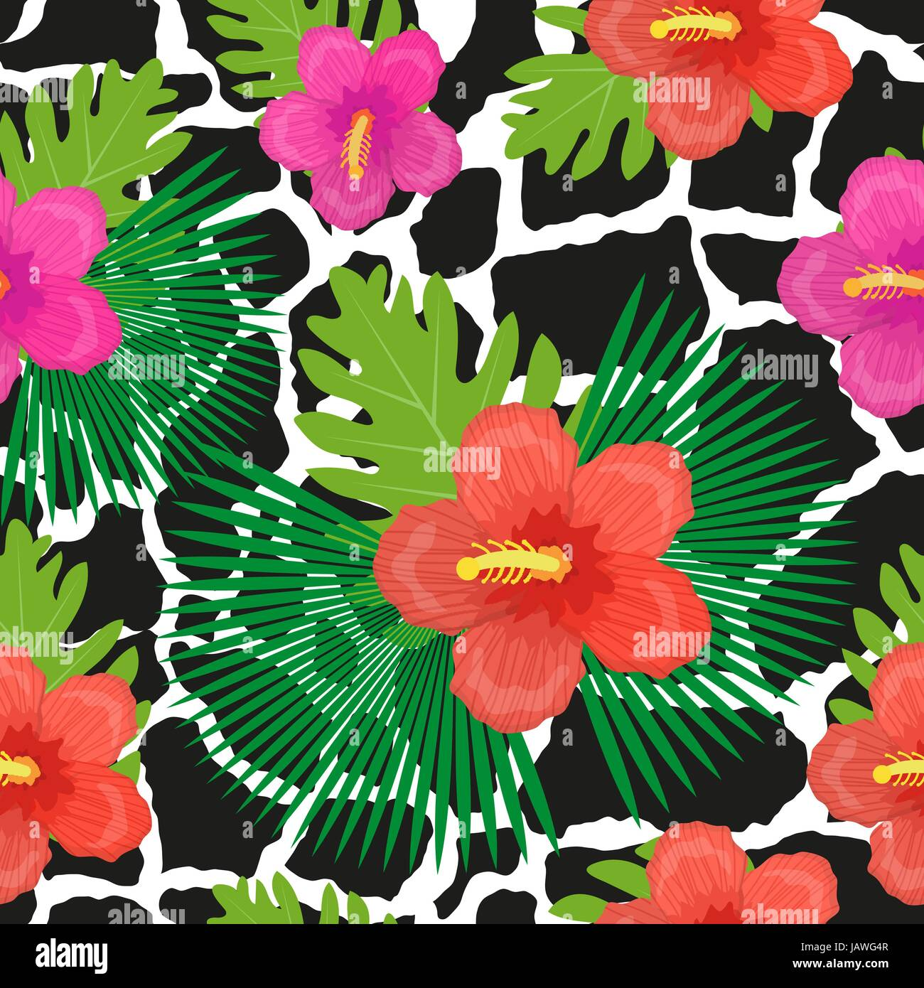 Tropical flowers, plants, leaves and animal skin seamless pattern. Summer Endless floral background. Paradise repeating - Stock Vector