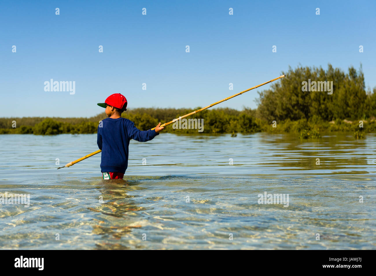 An Aboriginal boy uses a long barbed spear to hunt for stingrays in the shallows of a lagoon. - Stock Image
