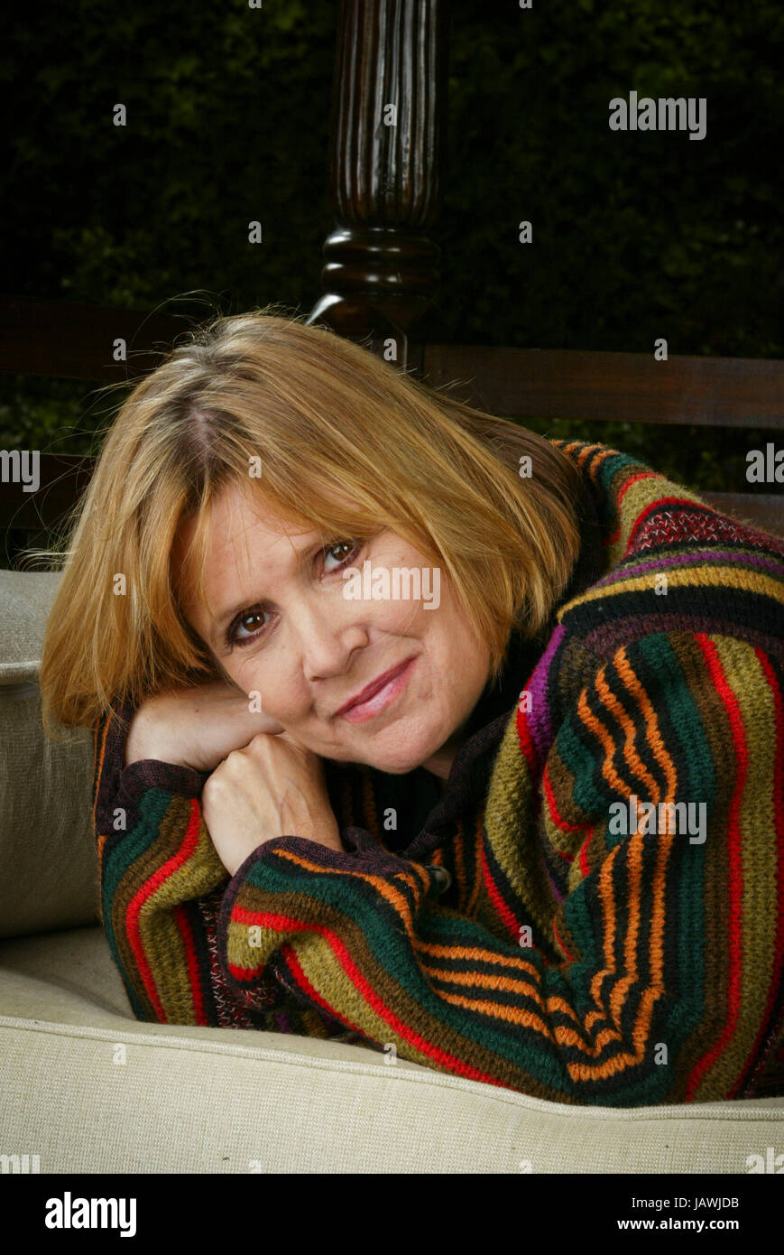Exclusive portrait session with actress Carrie Fisher at her Beverly Hills home on May 12, 2004. Photo by Francis - Stock Image
