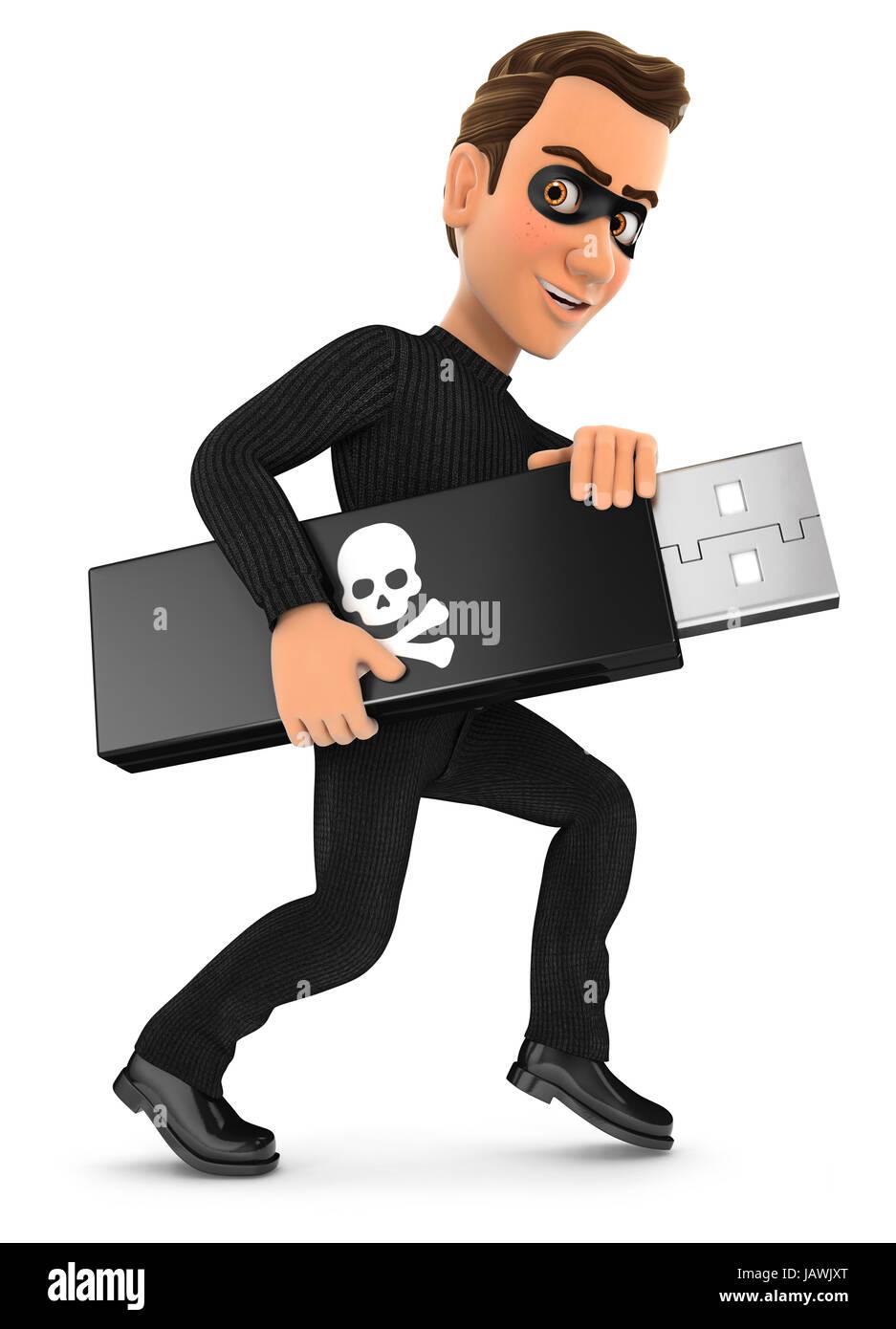 3d thief holding usb key, illustration with isolated white background Stock Photo