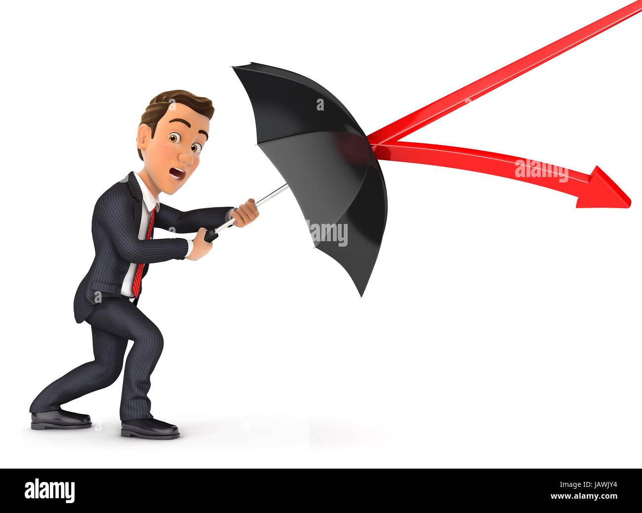 3d businessman stopping arrow with umbrella, illustration with isolated white background Stock Photo