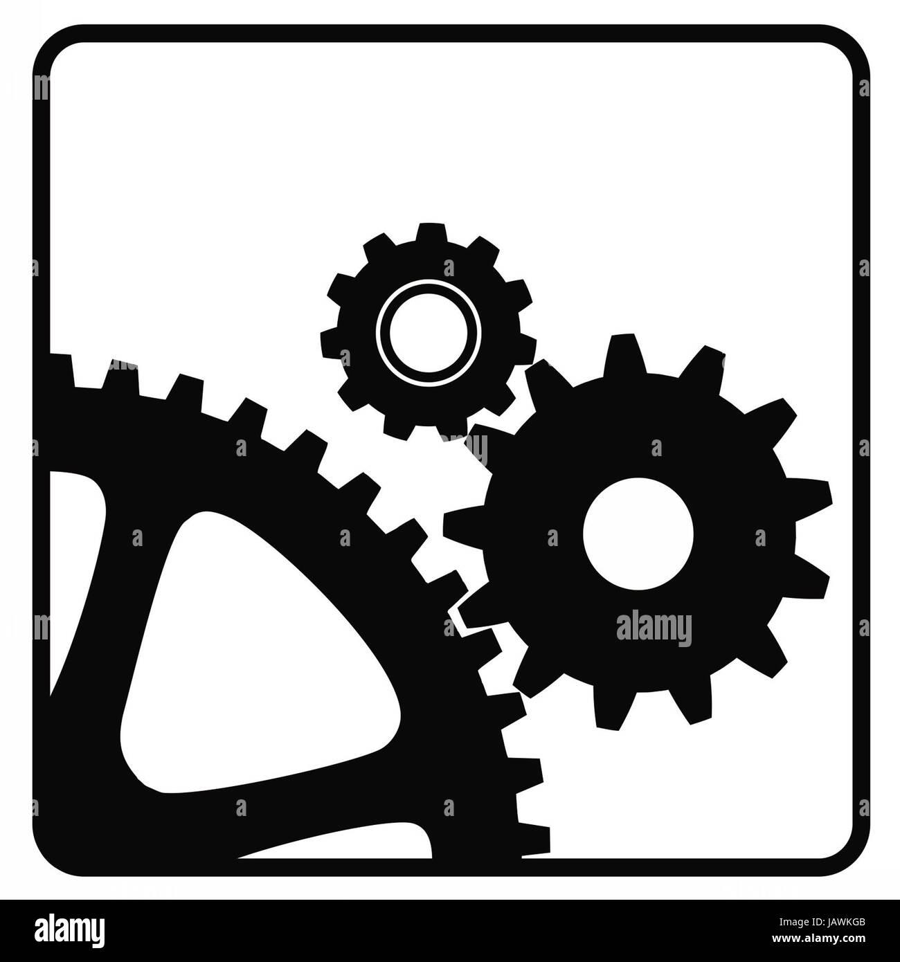 Three Mechanical Wheels Icon Technology Settings Symbol Stock Photo