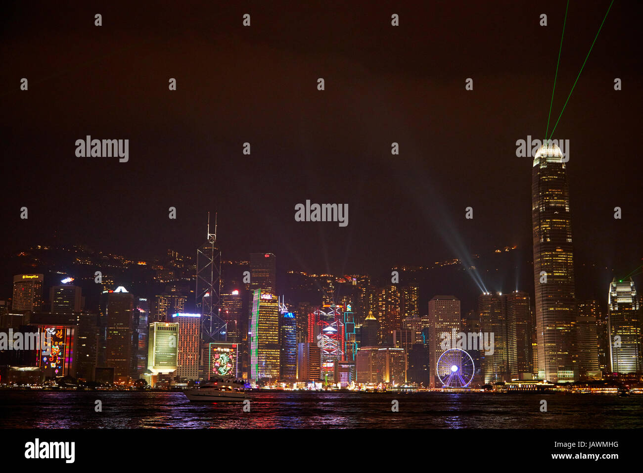 Victoria Harbour and lazer and light show on skyscrapers, Central, Hong Kong Island, Hong Kong, China Stock Photo