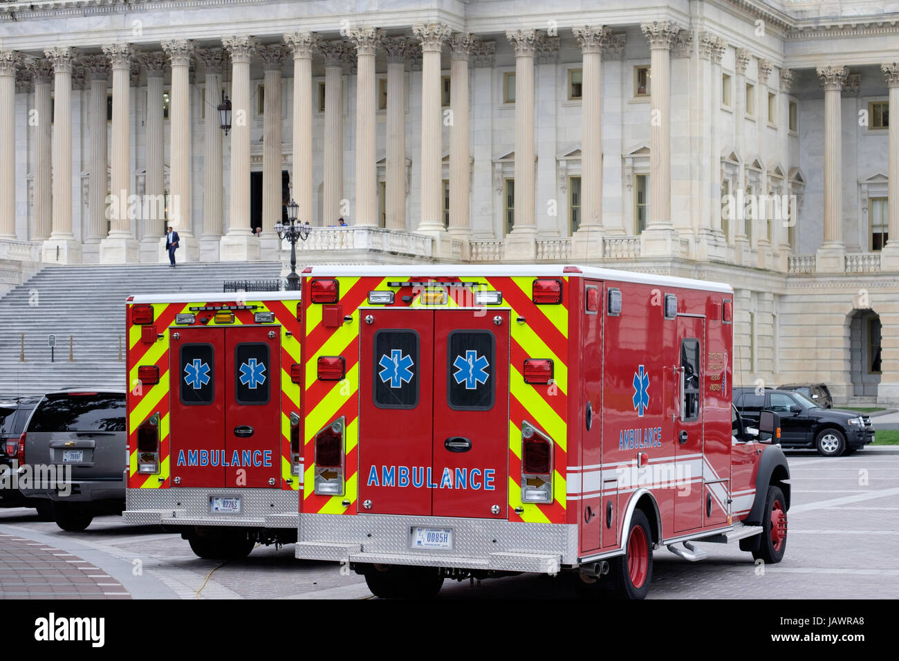 Ambulances in front of the U.S. Capitol building - Stock Image