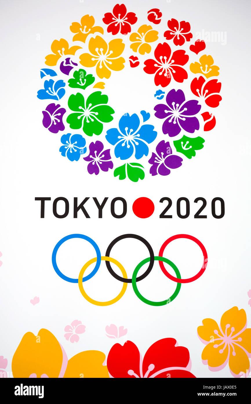 Summer Olympics 2020.Tokyo Japan Dec 12 Poster Of 2020 Summer Olympics At The