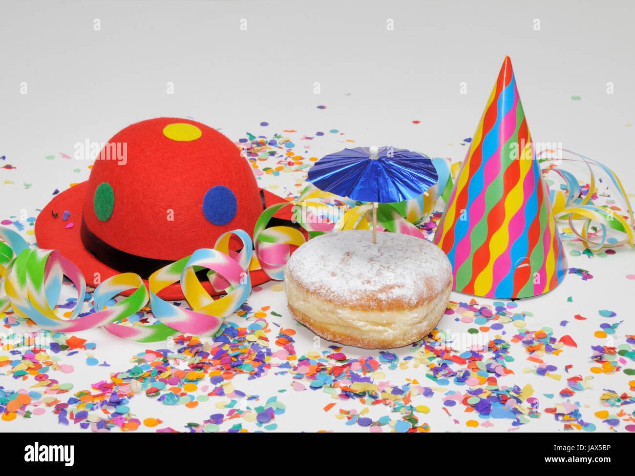 krapfen, kreppel, fastnacht, karneval, luftschlange, luftschlangen, girlande, symbolbild, girlanden, konfetti, süß, Stock Photo