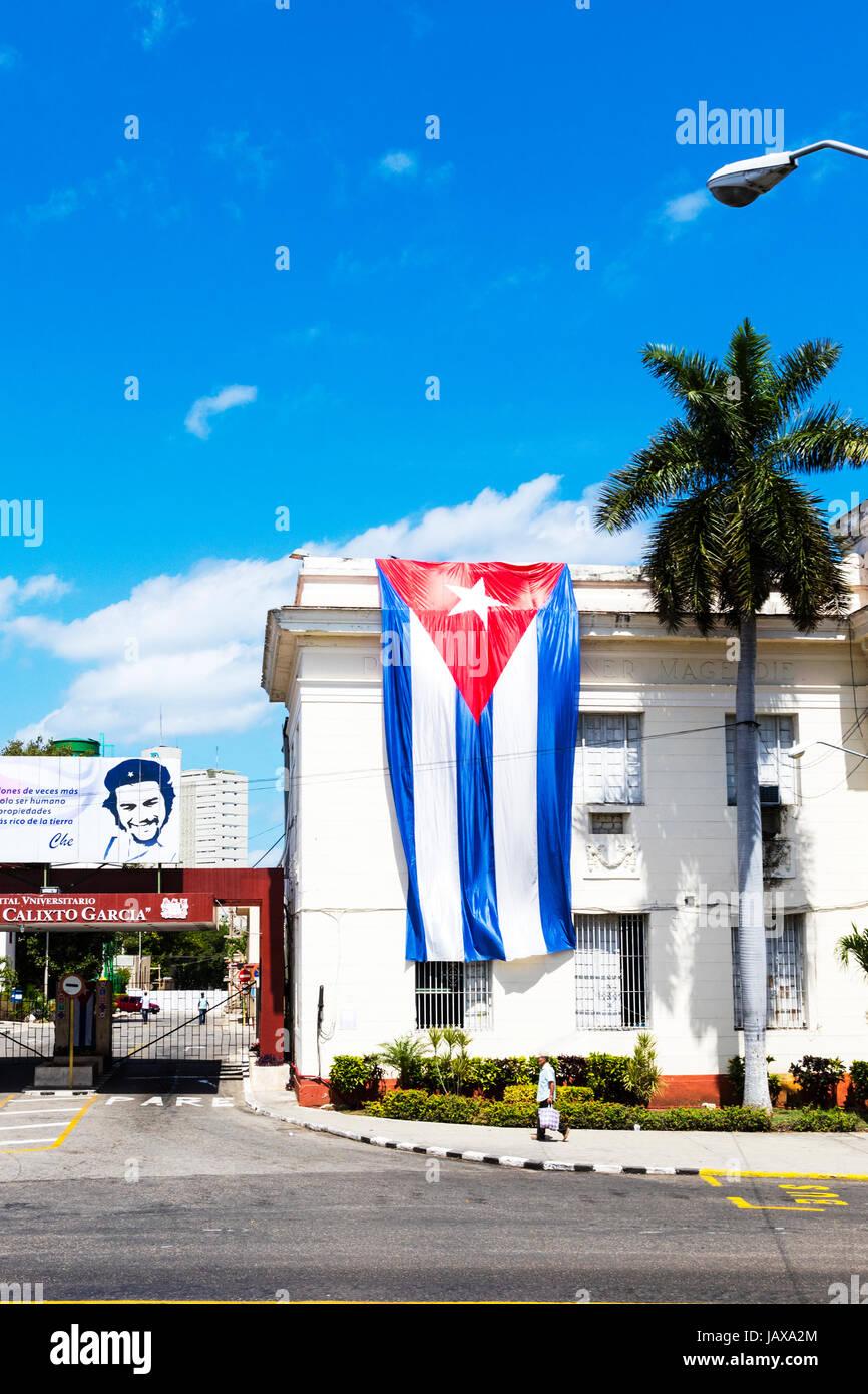 Cuban flag on building in Havana Cuba, Cuban flag, flying Cuban flag, Havana, cuba, cuban, flag, flags, flying, - Stock Image