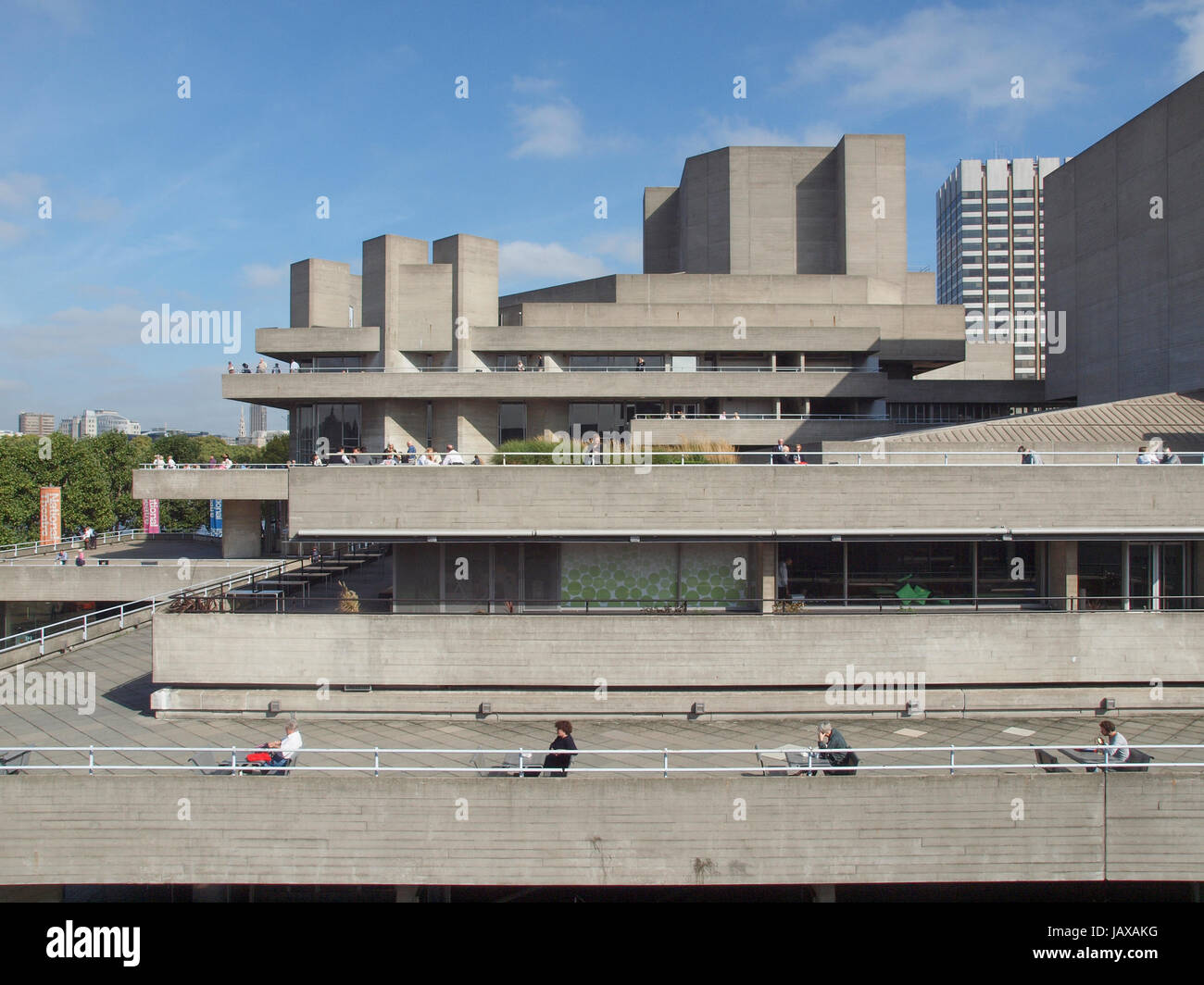 LONDON, ENGLAND, UK - SEPTEMBER 27, 2011: The Royal National Theatre iconic masterpiece of the New Brutalism designed by architect Sir Denys Lasdun Stock Photo