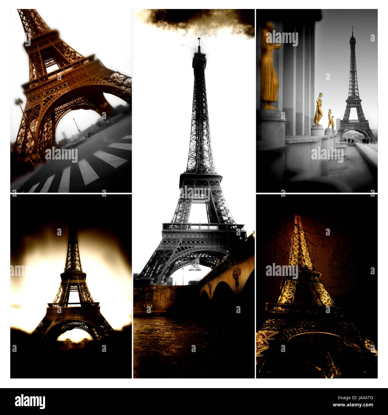 Iron Construction of one of the famoust european and french landmark Eiffel Tower in Paris - Stock Image