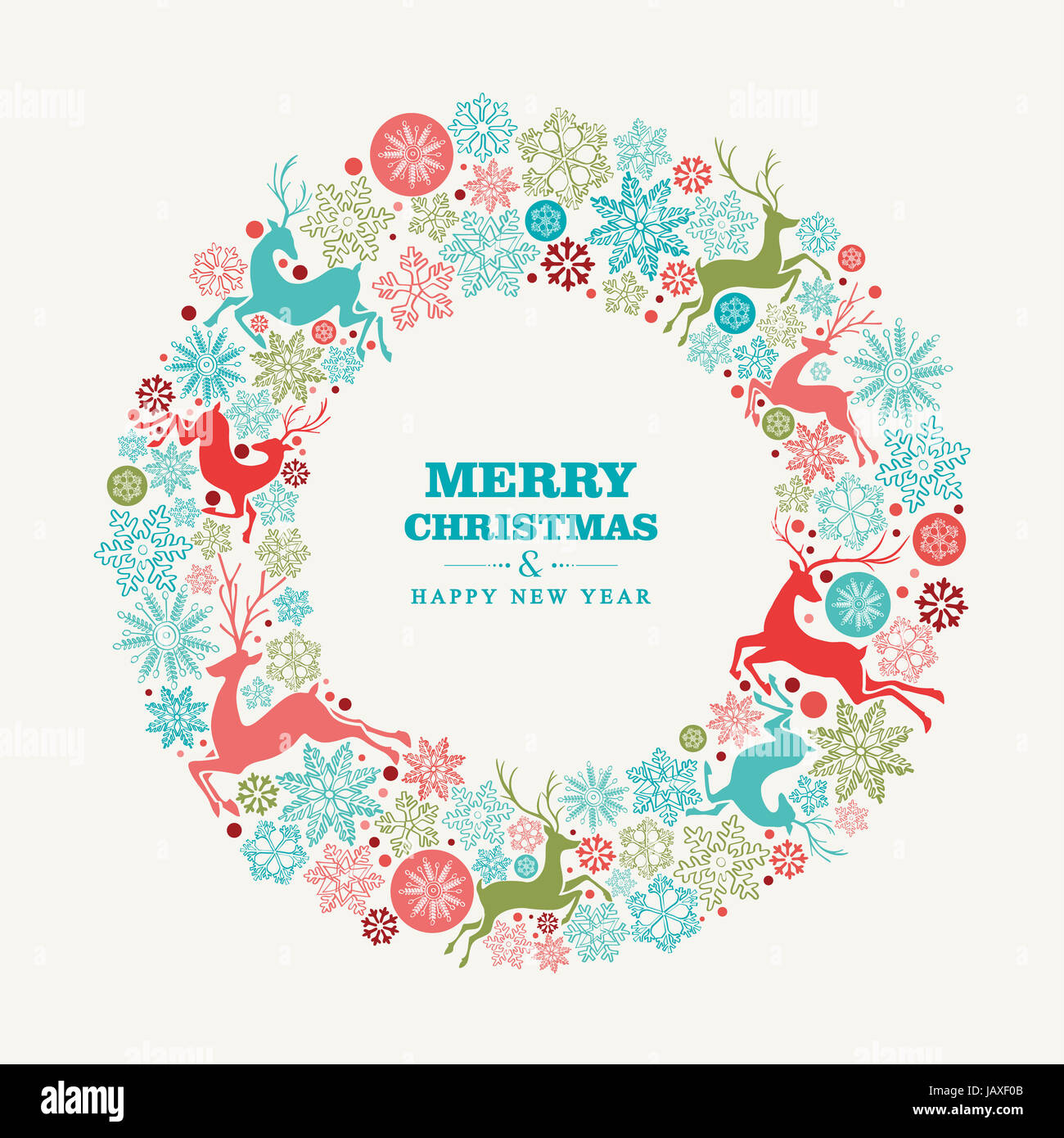 Merry christmas and happy new year wreath shape greeting card stock merry christmas and happy new year wreath shape greeting card background eps10 vector file organized in layers for easy editing m4hsunfo