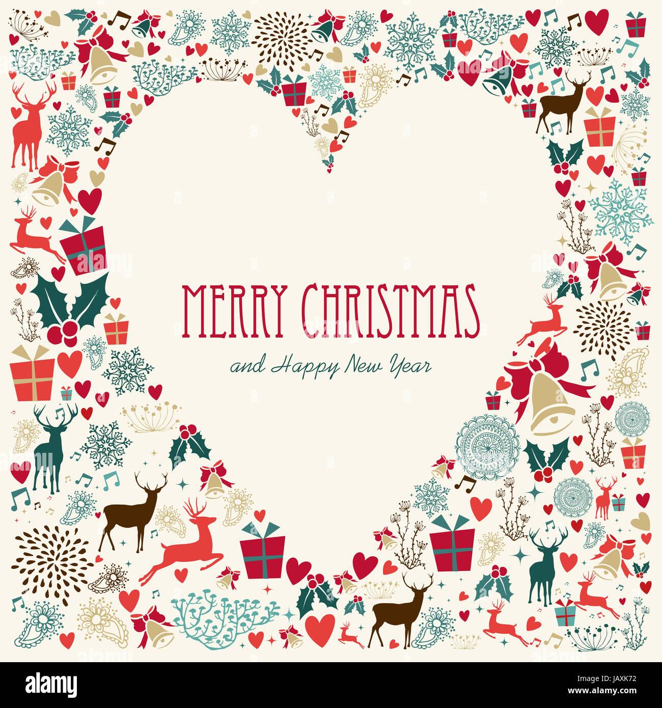Christmas Heart Vector.Vintage Christmas Heart Love Elements Background Eps10