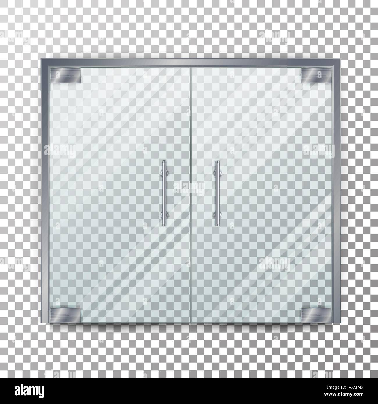 Glass Door Transparent Vector. Clear Glass Door Isolated On Transparent  Checkered Background. Mock Up