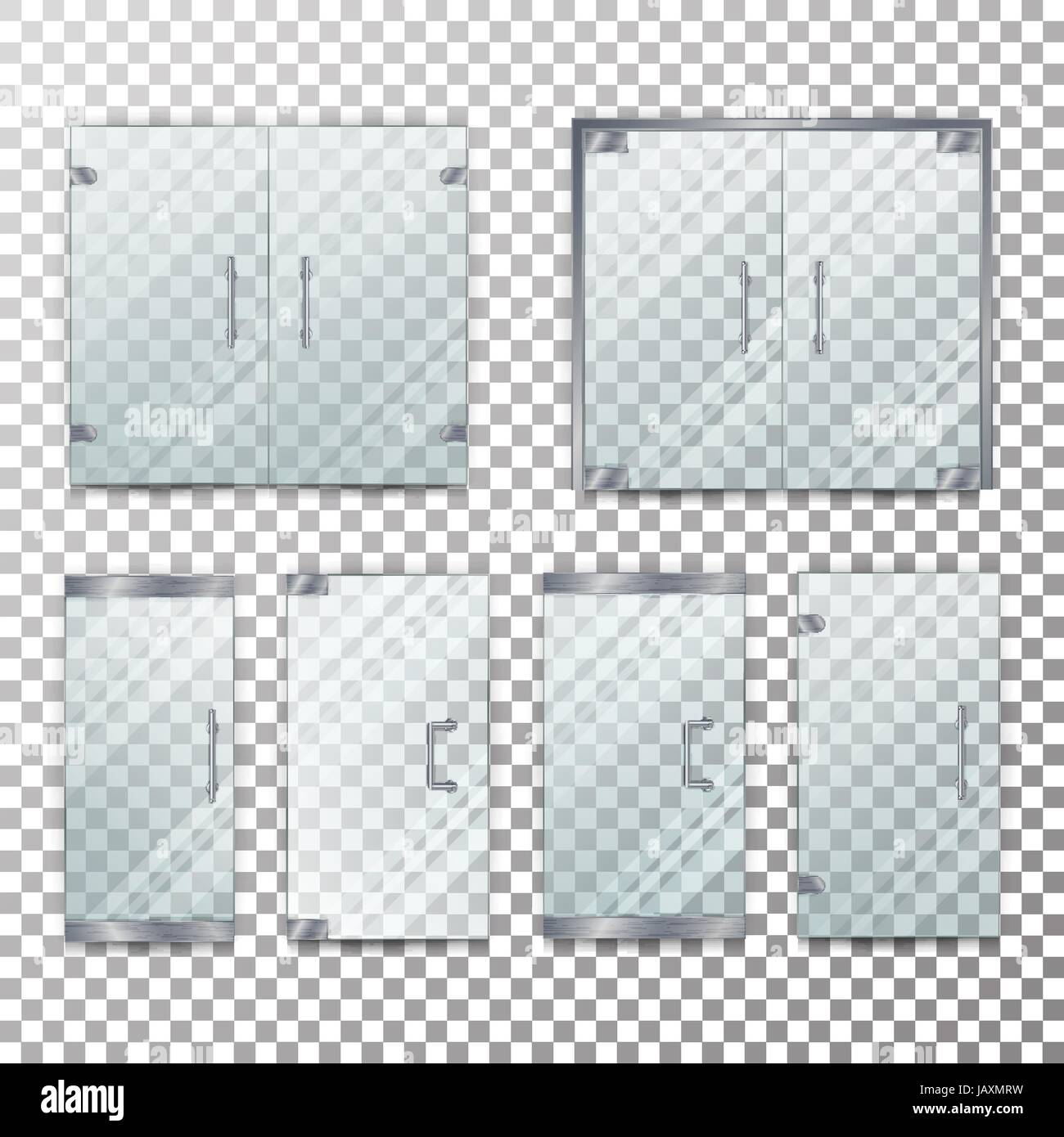 Glass Door Transparent Vector. Front For Office Or Boutique. Clear Showcase  Facade. On