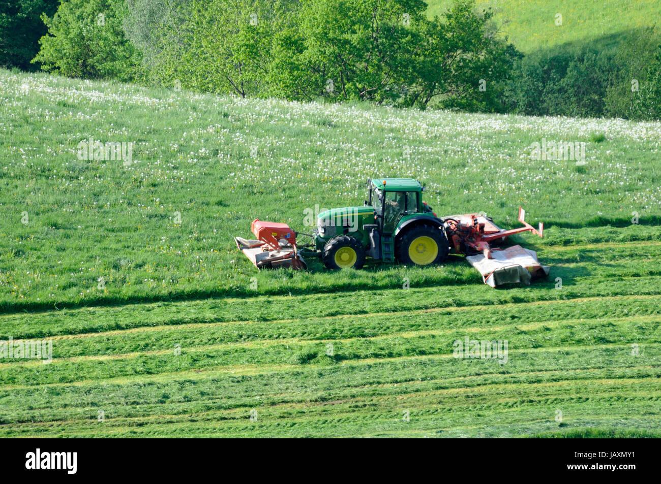 Fabelhaft traktor, schlepper, mähwerk, Gemähte Wiese, landwirtschaft, wiese @RN_23