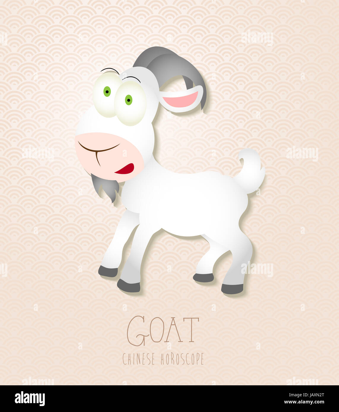 2015 Chinese New Year of the Goat and Sheep funny cartoon zodiac collection illustration. EPS10 vector file with - Stock Image