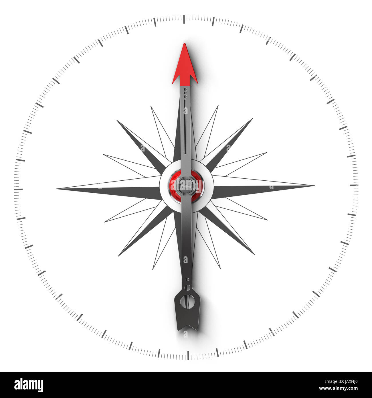 Top View Illustration Of A Compass Over White Background Symbol Of