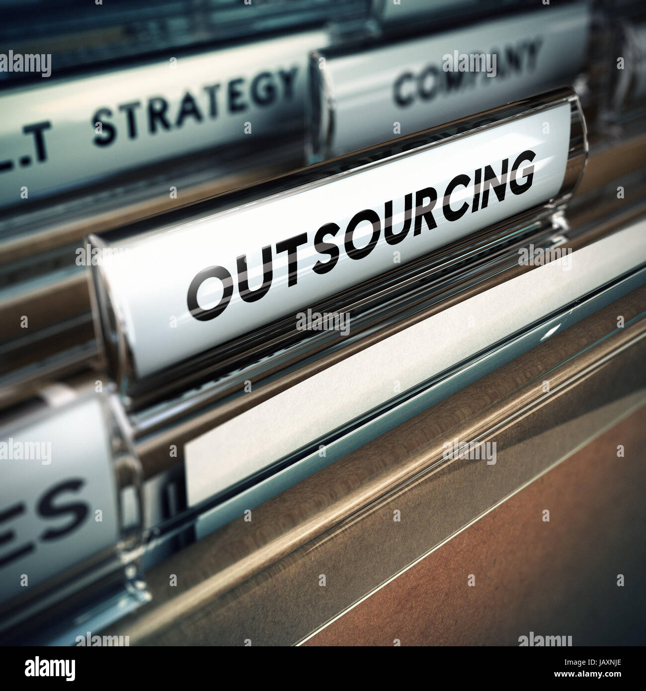 Folder tab with focus on the the word outsourcing  Contracting out