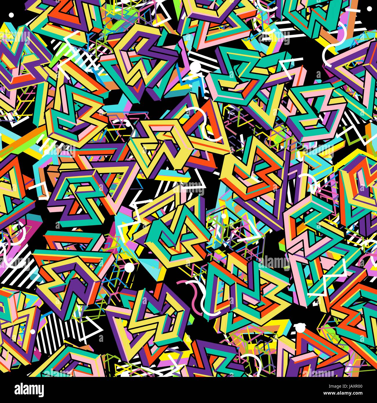 Vector Pattern 80s. Geometric Seamless Abstract Background