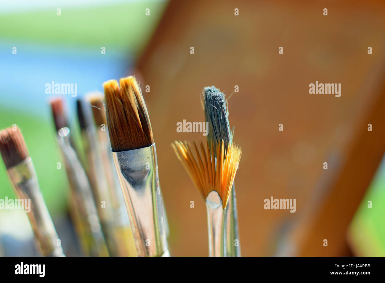 Close up of paint brushes outdoors. Selective focus horizontal image - Stock Image
