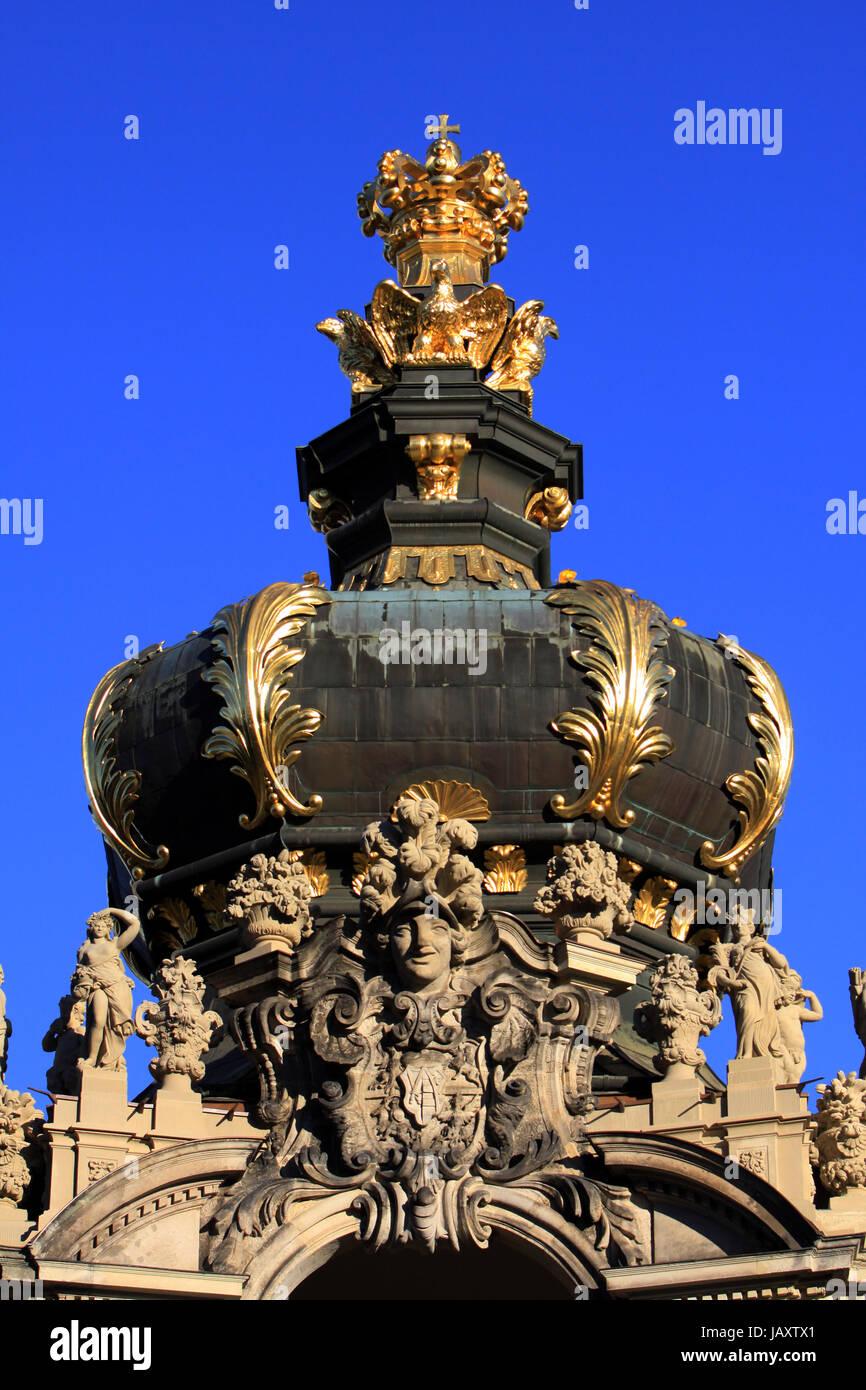 Kronentor am Dresdner Zwinger, Sachsen, Deutschland, Dresden Stock Photo