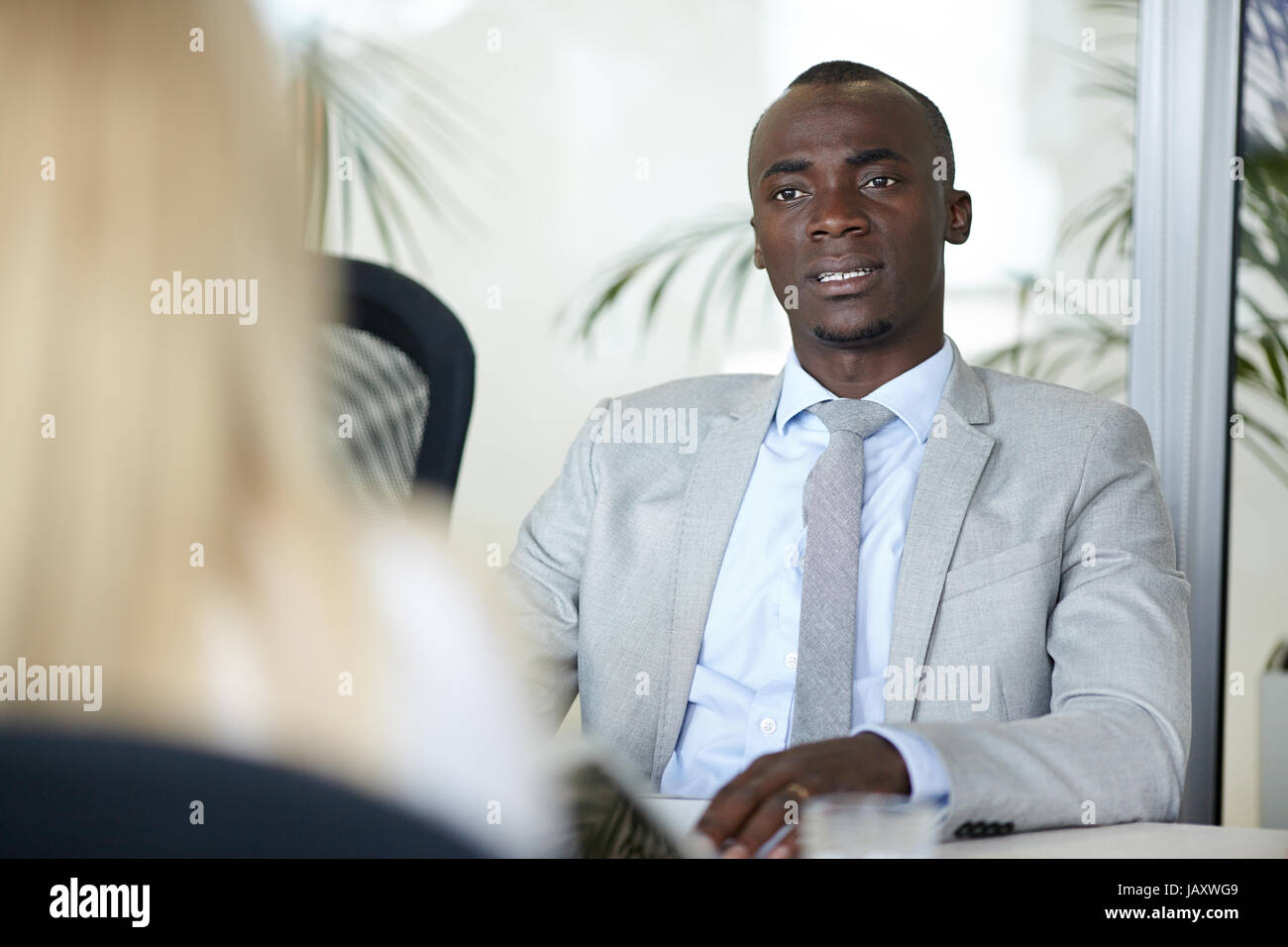 Job Interview in Meeting Room - Stock Image