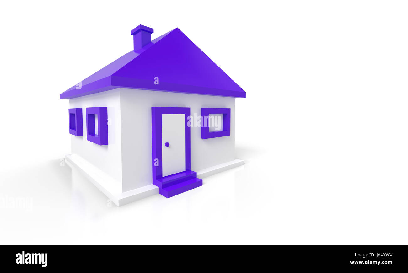 3D Haus Rot Violett - Stock Image