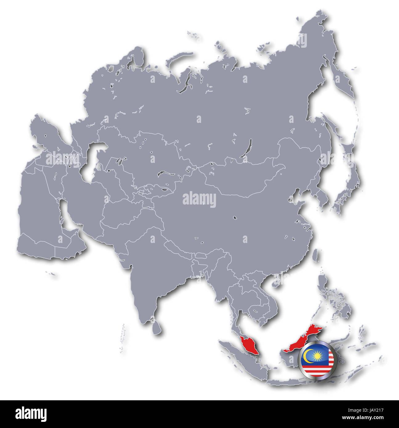 Map Of Asia Malaysia.Asia Map With Malaysia Stock Photo 144423811 Alamy