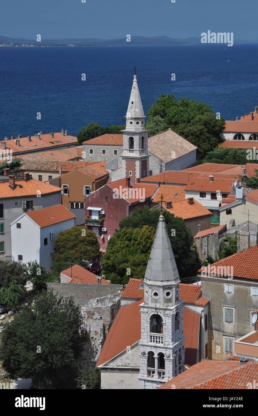 Zadar, Kroatien, dalmatien, stadt, balkan,dach, dächer,hafen, haus, häuser, kirche, kirchen, rundblick, - Stock Image