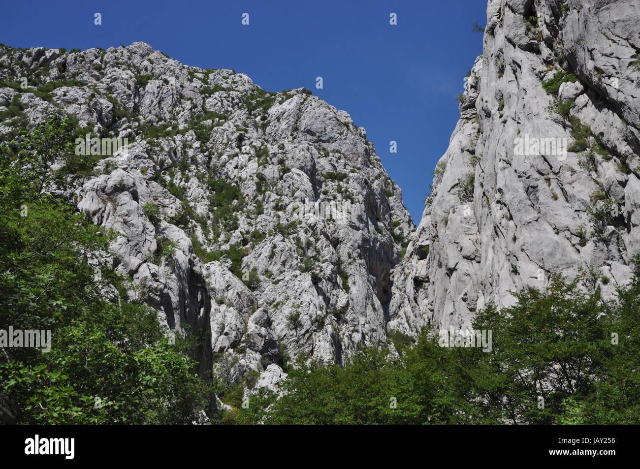 Paklenica-Schlucht, kroatien, schlucht, klamm, canyon, paklenica, berg, felsen, fels, kletterfels, kletterfelsen, - Stock Image