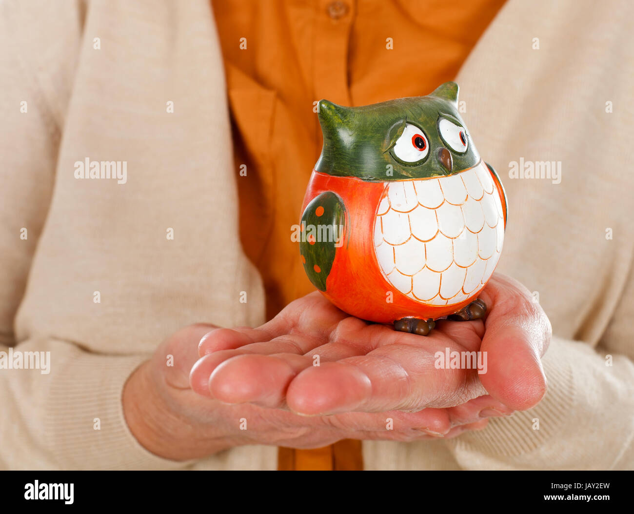 Close up picture of an elderly woman holding an owl as the symbol of wisdom - Stock Image