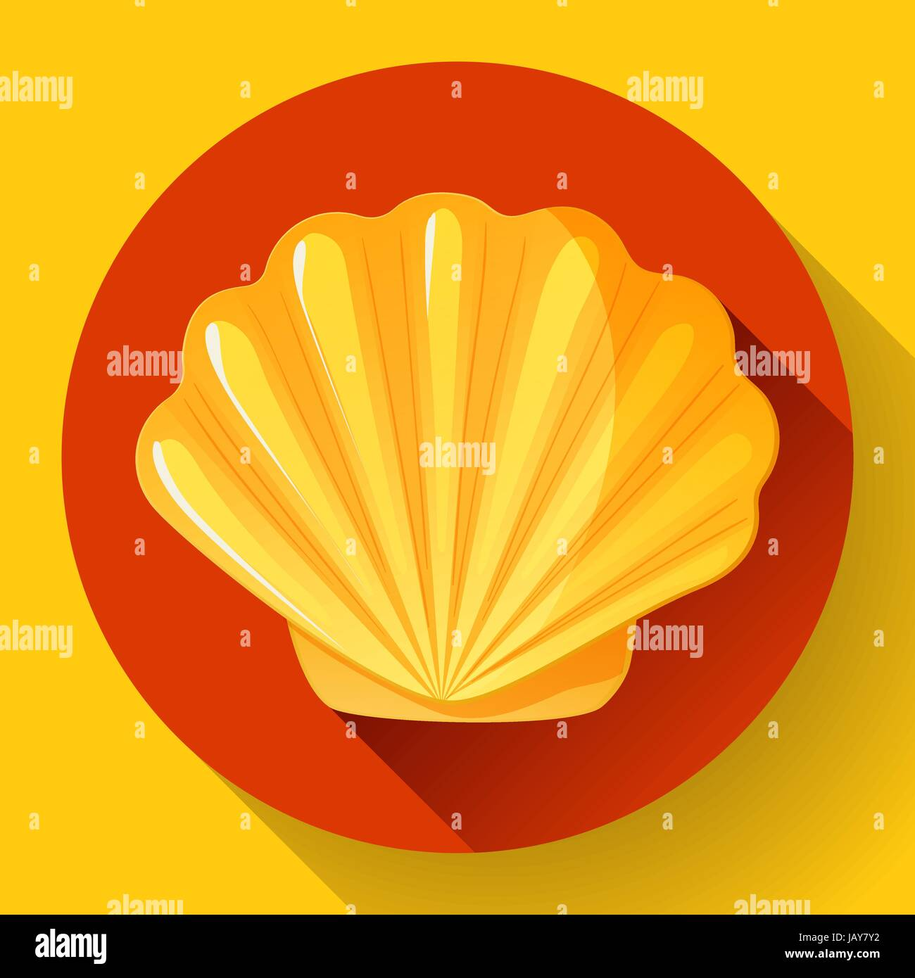 gold sea shell flat vector logo Seafood flat icon. - Stock Vector