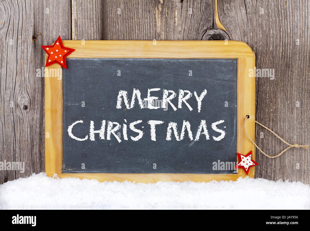 Christmas Greetings Old Slate Chalkboard With Words Merry Christmas