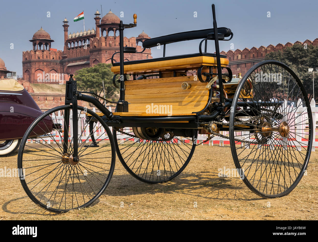 New Delhi, India - February 6, 2016: Benz Patent Motorwagen (or motorcar) 1886 worlds first petrol-fuelled automobile - Stock Image