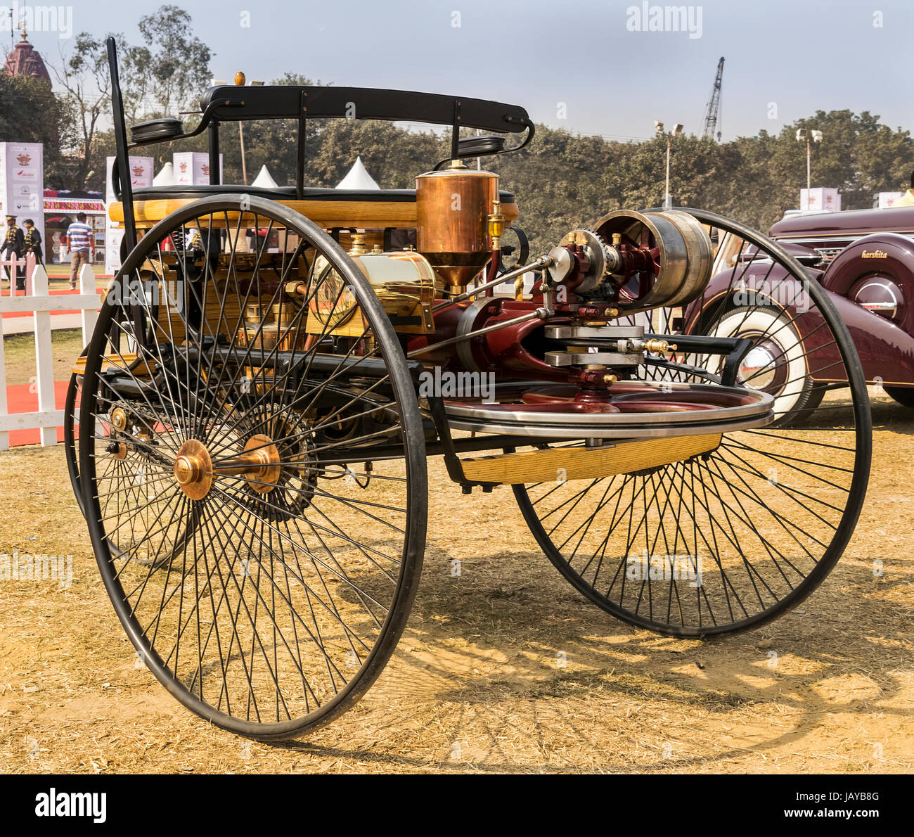 New Delhi, India - February 6, 2016: Rear view of Benz Patent Motorwagen (or motorcar) 1886 worlds first petrol - Stock Image