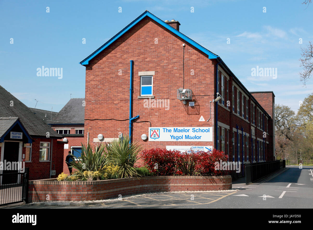 The Maelor School, a Welsh secondary school in Penley, Wrexham which serves the rural border area of England and - Stock Image
