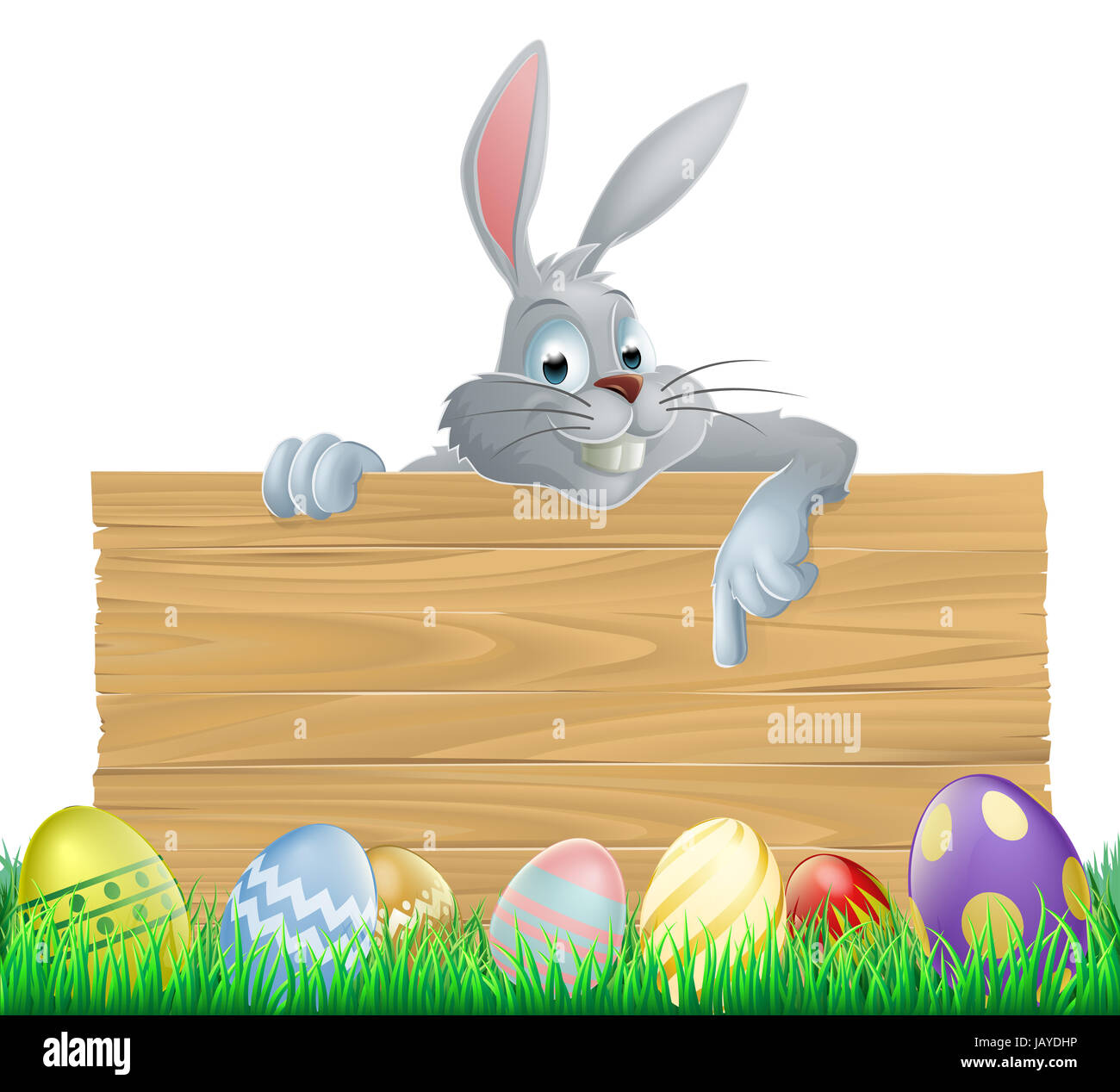 An Easter Bunny Rabbit Wooden Sign With Painted Chocolate Easter Eggs Stock Photo Alamy