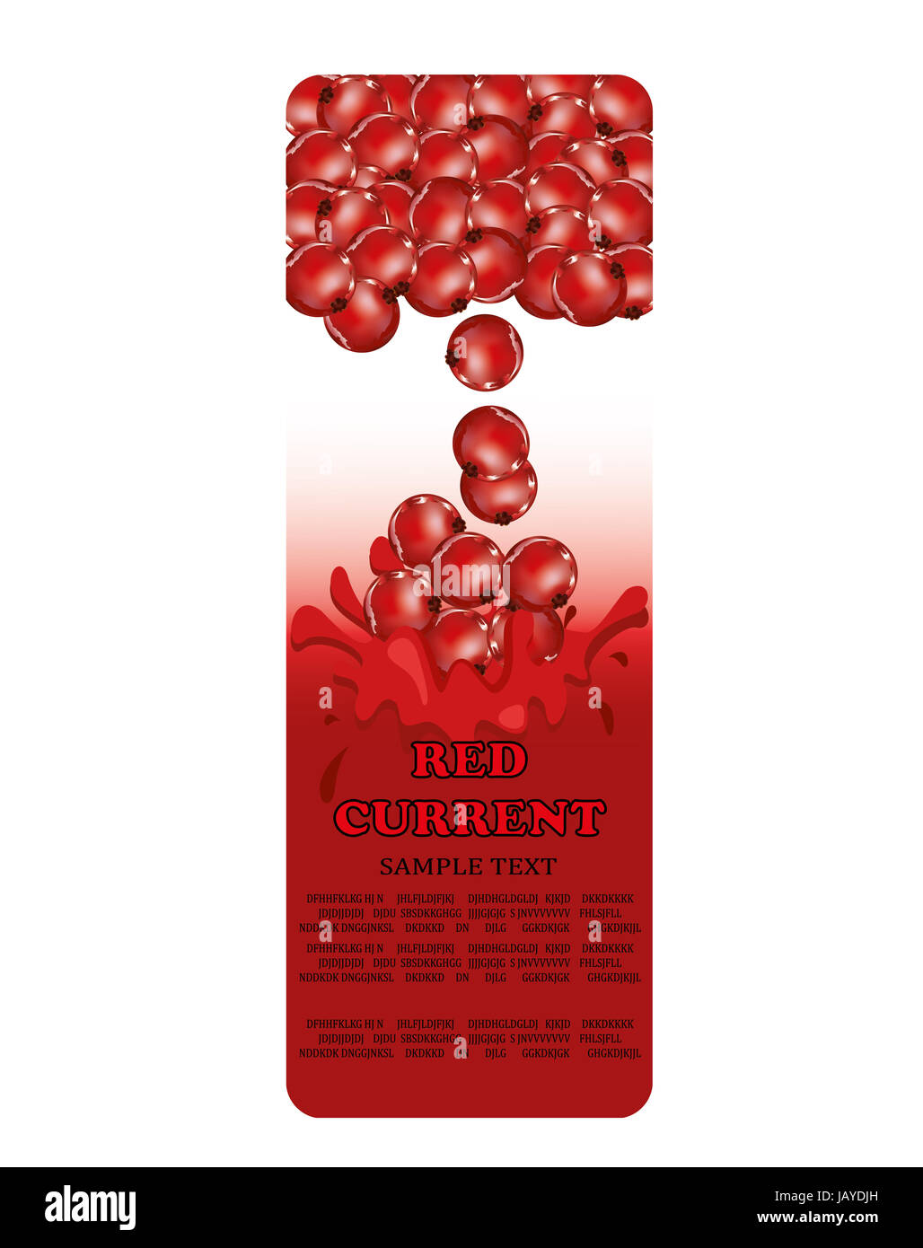 Red Currents - packaging design, label. - Stock Image